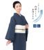 【単衣】阿波しじら織木綿きもの(紺×グリーン×グレー縞柄)